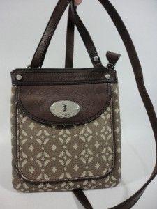 NWT FOSSIL Maddox Signature Mini PECAN Canvas & Leather Crossbody Bag