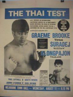 1982 Graeme Brooke vs Suradej Kiongphajorn on Site Boxing Poster