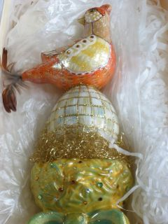 Mackenzie Childs Blown Glass Nesting Partridge Tree Topper Ornament