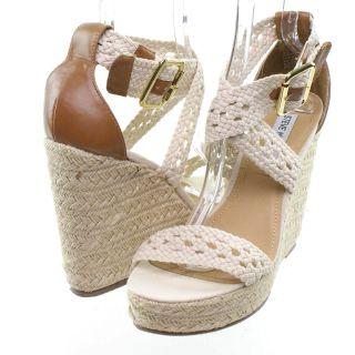 Steve Madden Magestee Platform Wedge Sandal Natural Size 10