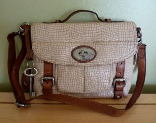 Fossil Maddox Leather Crossbody Brown Embossed Handbag Zip Wallet $263