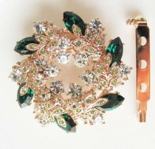Green Flower Scarf Clip Also Brooch Gold GF Swarovski Crystal Wedding