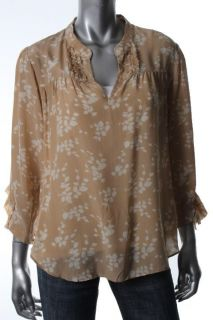 Madison Marcus Tan Silk Printed Ruffled Long Sleeve Blouse Top Shirt L