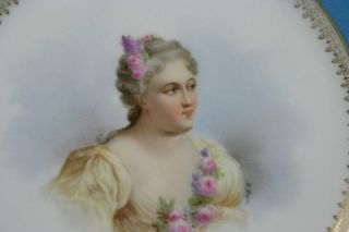 Porcelain Hand Painted Plate Madame de Parabere Circa 1844