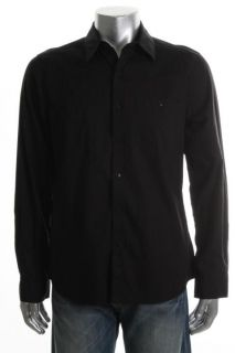 Kenneth Cole New Black Collared Long Sleeve Button Down Shirt M BHFO