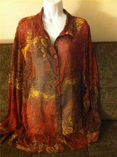 Maggie Barnes Top Shirt Tunic Size 30 32W New Brown Orange Cream 4X