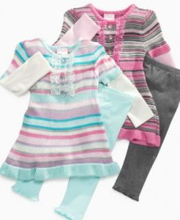 Nannette Baby Set, Baby Girls Pastel Stripe Sweater Dress and Leggings