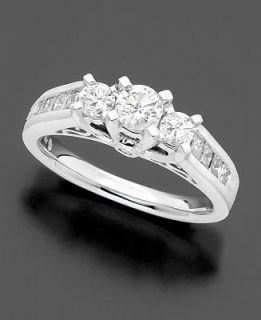 Diamond Ring, 14k White Gold Three Stone Diamond (1 ct. t.w.)