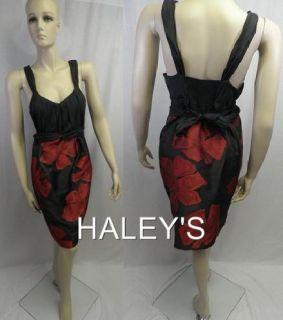 New Max Studio MSSP Black Red Cocktail Dress Size 12