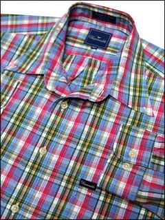 Mens Designer Faconnable Madras LS Dress Shirt XXL 2XLT