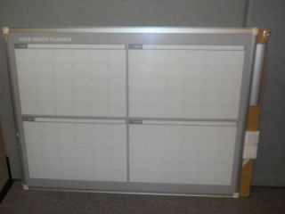 MasterVision 36X48 White Silver 4 Month Planner Dry Erase Board