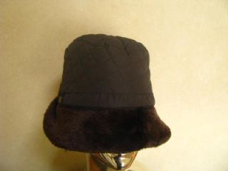 New Ladies Womans DK Brown Quilted Faux Fur Trim Hat Cap