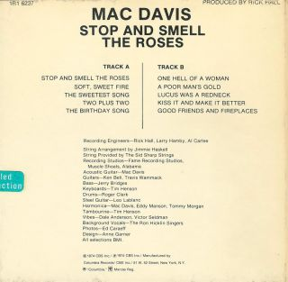 Mac Davis Stop and Smell The Roses Reel to Reel Tape