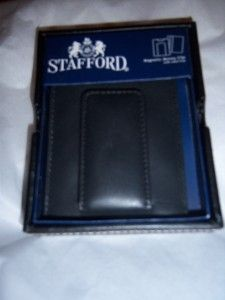 Leather Magnetic Money Clip Wallet Valet Box Black