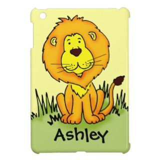 Kids named cute lion yellow ipad mini case