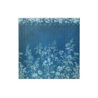 Vintage French Flower Blue Tile