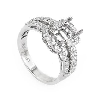 Magnificent 18K White Gold Diamond Engagement Ring Mounting