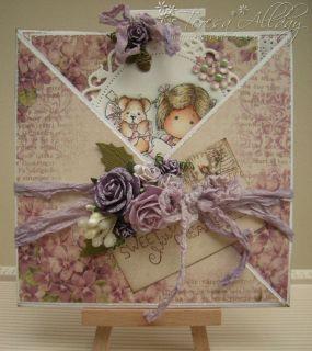 Pretty Hand Made Christmas Card Magnolia Tilda with Puppy ♥
