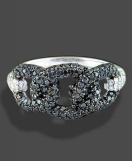 Effy Collection 18k White Gold Ring, Black and White Diamond Knot (1