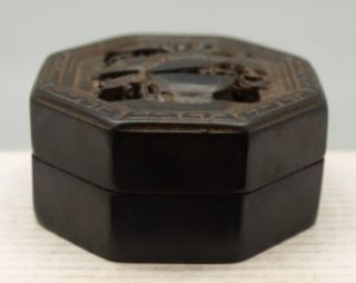 Chinese Black Octagonal Box containing Red Carved Seal / Chop / Stamp