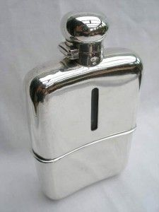 Fine Heavy Antique Victorian Solid Silver Glass Hip Flask