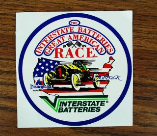 1989 The Interstate Batteries Great American Race Sticker Brand New