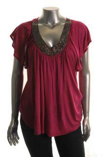 Mai Tai New Pink Knit Beaded Front V Neck Casual Pullover Top Shirt