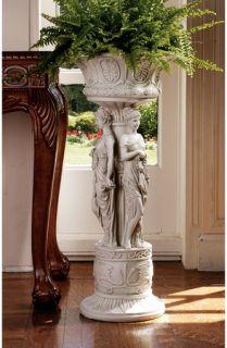 Neoclassic Maidens European Pedestal Urn Statue Home Garden