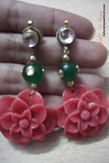 Beautiful Kundan Studs Green Onyx Kundan Bead Carved Coral Rose Flower