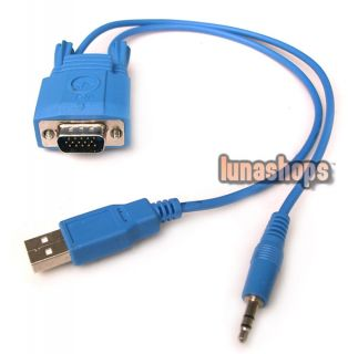 VGA Male to RJ45 Female 3 5mm USB Cable Adapter Convertor