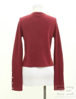 MAGASCHONI Burgundy Cashmere Button Up Cardigan Size Small
