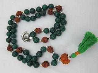 Rudrudrakshaya Green Jade Rosary Mala Meditation Prayer Japamala 54 1