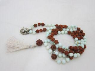 Rudraksha White Agate Full Mala Rosary Yoga Meditation Japamala 108 1