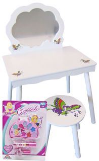 Little Girls White Vanity Table and Stool with Free Make Up Set