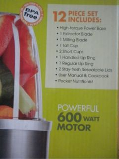Magic Bullets Nutribullet 600 Watt Hi Speed Blender Juicer Extractor