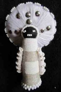 Beaded African Zulu Amachunu Matron Makoti Doll White Silver