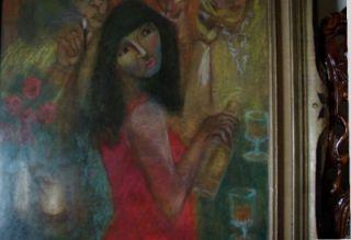 Vartan Malakian Pastel Original Modern Art Painting Signed Bar