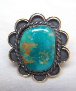 ~NAVAJO~JAMES JACKSON~STERLING SILVER~KING`S MANASSA TURQUOISE~RING