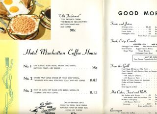 Hotel Manhattan Coffee Shop Menu 1957 New York City