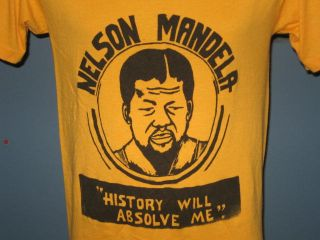 Vintage 80s Nelson Mandela History Will Absolve Me T Shirt Small Soft