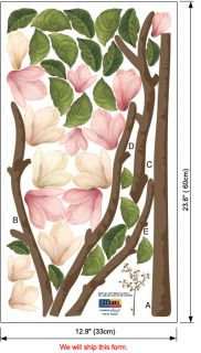 Magnolia Tree Blossom Flower Wall Decals Vinyl Stickers