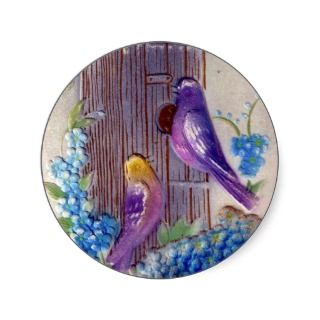 Birds and Bird House Vintage Birthday Postcard Round Sticker