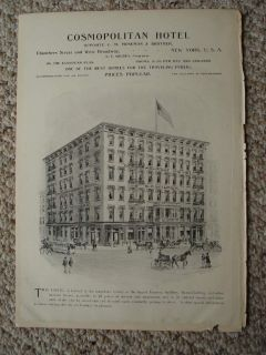 Antique Horse Equestrian Print New York City Hotel