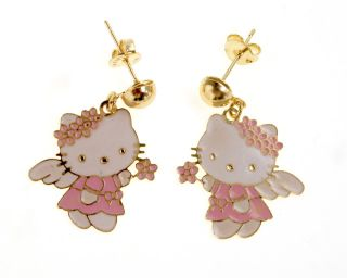 Gold 18K GF Angel Hello Kitty Pink Enamel Wings Earrings Dangle Kids