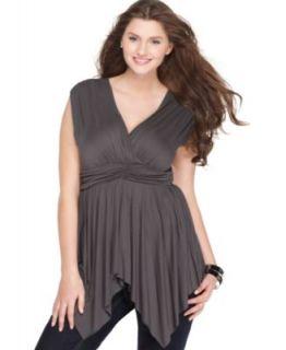 Mai Tai New Gray Ruched Waist Uneven Hem Sleeveless Tunic Top Shirt