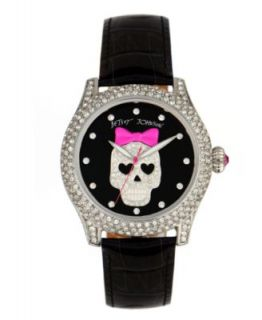 Betsey Johnson Watch, Womens Black Leather Strap BJ00019 18   A