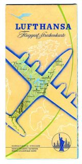 Lufthansa Europe North America Route Maps 1958 German Airline