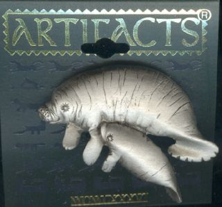 Pewter Manatee Sea Cow and Baby Pin by JJ Gift Box