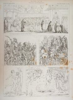 1870 Antique Lithograph Italy Painting Julius Caesar Venus Hercules