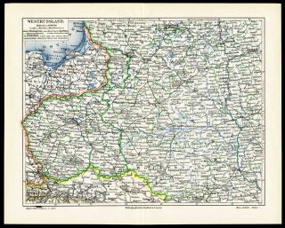 Antique Map West Russia Poland Prussia Meyers 1895